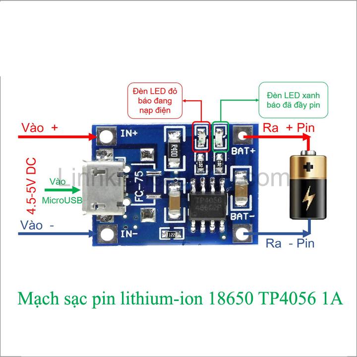 Mạch Sạc Pin 1 Cell 18650 TP4056 1A MicroUSB Linh kiện điện tử ...