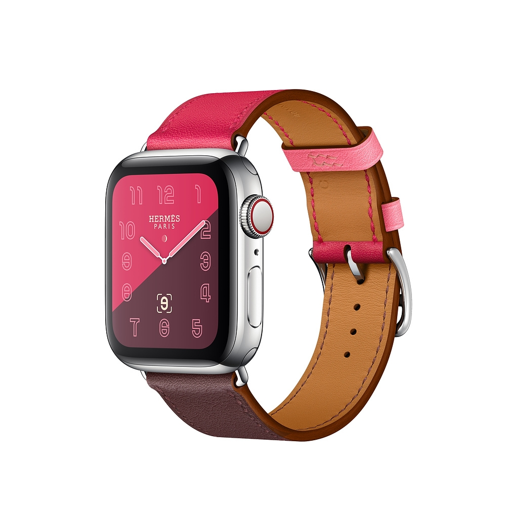 Apple Watch Series 4 Hermès Stainless Steel Case With Bordeaux/Rose Extrême/Rose Azalée Swift Leather Single Tour (GPS+CELLULAR) 40Mm - Mới 100%