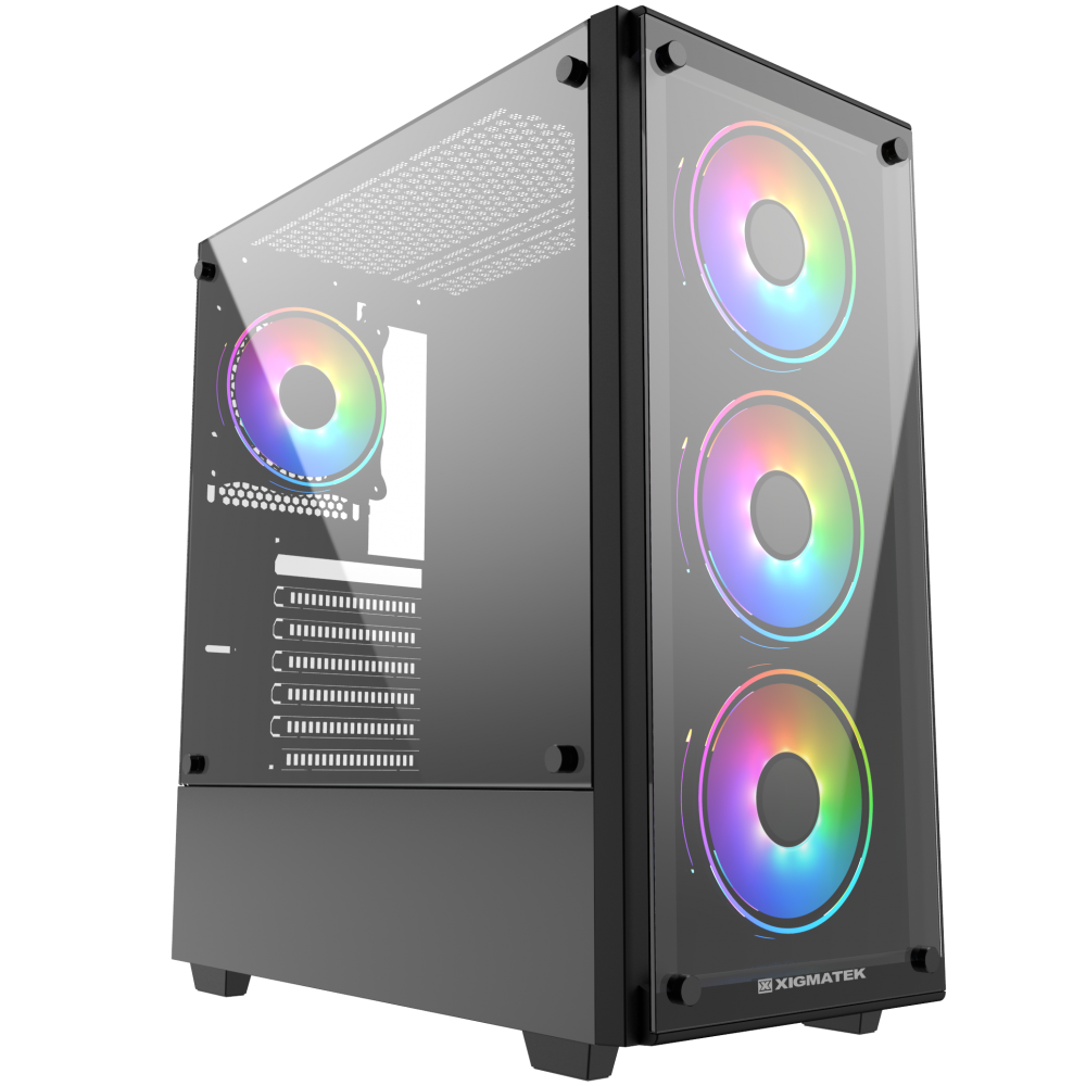 XIGMATEK ARTEMIS BLACK (EN43088) - GAMING ATX, 2 SIDE TEMPERED GLASS, NO FAN