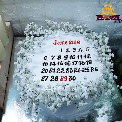 Bánh kem cuốn lịch , tờ lịch tháng 6