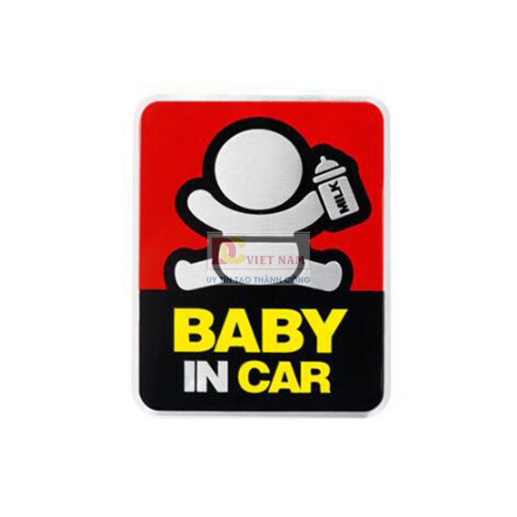 Tem Decal baby in the car dán đuôi xe H40311