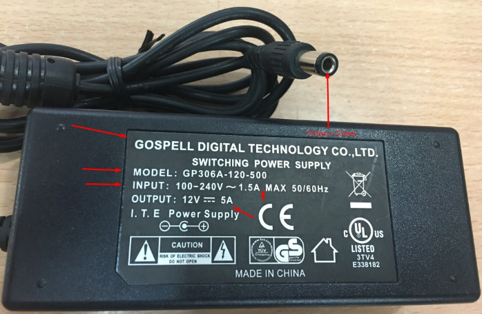 Adapter Original Gospell GP306A-120-500 12V 5A For Cisco 881 881W 887 888 891 891W Router Connector Size 5.5mm x 2.5mm