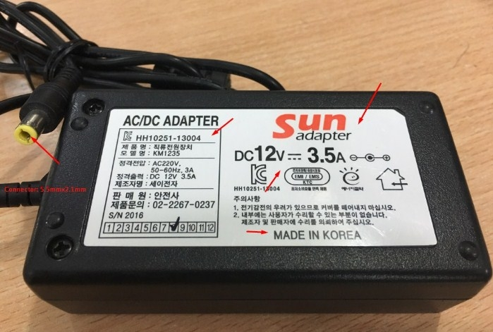 Adapter 12V 3.5A 42W Original SUN HH10251-13004 Connector Size 5.5mm x 2.1mm