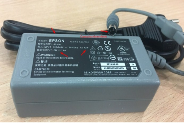 Chuyển Nguồn Adapter 24V 1.4A Epson A291B For Scanner Epson GT-1500 Connector Size 6.0mm x 4.0mm