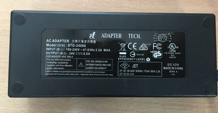 Adapter Original Tech STD-24066 24V 6.6A IEC C14 160W Connector 5.5mm x 2.5mm