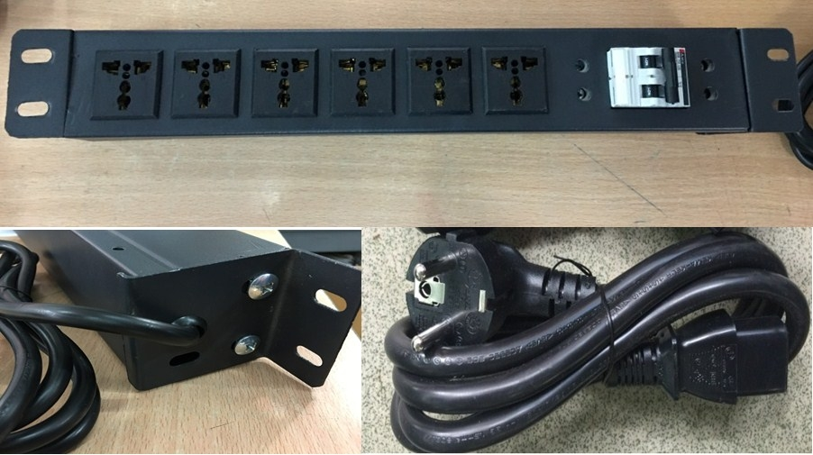 Thanh Phân Phối Nguồn Universal Socket PDU 6 Port 1U Rack 19 16A 250V EUROPEAN SCHUKO Power Plug With Cord Length 1.5M