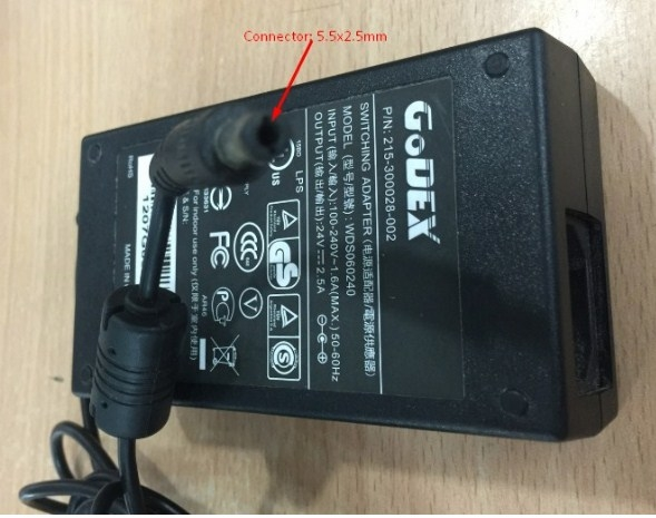 Adapter Original GODEX 215-300028-002, WDS060240 For Printer G500 G530 EZ1100 EZ1300 EZ-1300 24V 2.5A Connector 5.5 x 2.5mm
