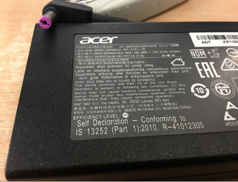 Adapter Original Acer PA-1131-16 19V 7.1A 135W Connector Size 5.5mm x 1.7mm