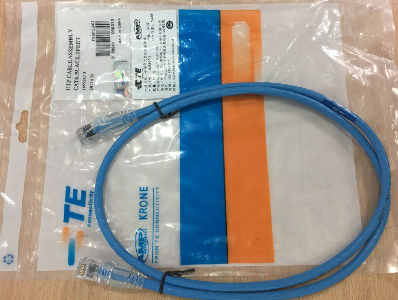 Dây Nhẩy COMMSCOPE Cat6 RJ45 UTP Patch Cord Straight-Through Cable 1859247-3 PVC Jacketed Blue Length 1M