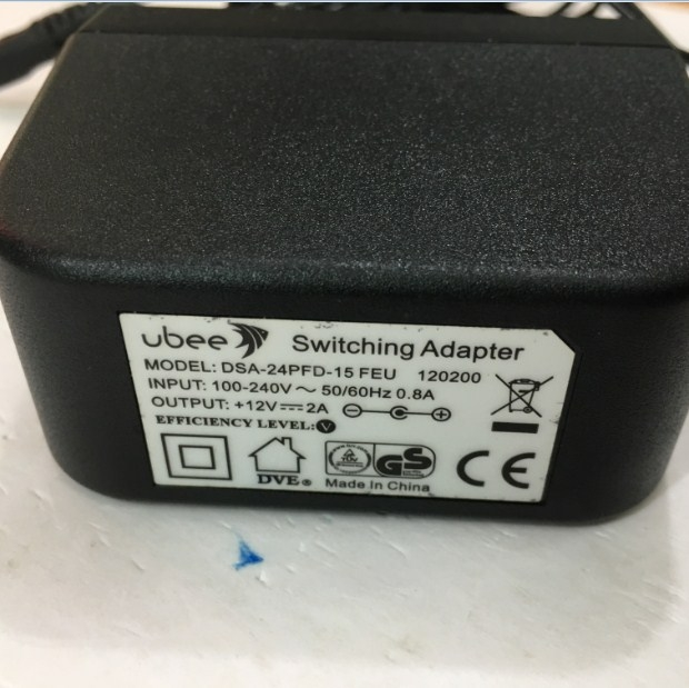 Adapter 12V 2A 24W Original UBEE DSA-24PFD-15 FEU Connector Size 5.5mm x 2.1mm