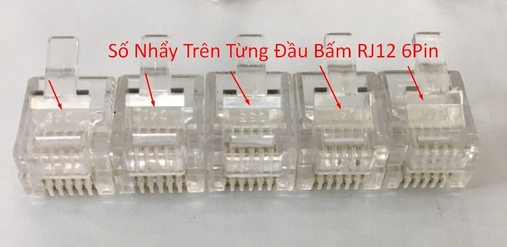 Đầu Bấm Telephone Plug 6P6C RJ12 Modular Plug Cable Head Plug Gold Plated 100pcs/Lot