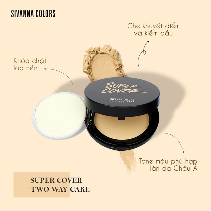 PHẤN NỀN SIVANNA COLORS SUPER COVER TWO WAY CAKE (HF201)