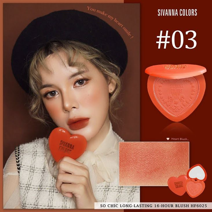 Phấn Má 𝐒𝐨 𝐂𝐡𝐢𝐜 𝐋𝐨𝐧𝐠-𝐋𝐚𝐬𝐭𝐢𝐧𝐠 𝟏𝟔-𝐇𝐨𝐮𝐫 𝐁𝐥𝐮𝐬𝐡 Sivanna Colors HF6025 #03