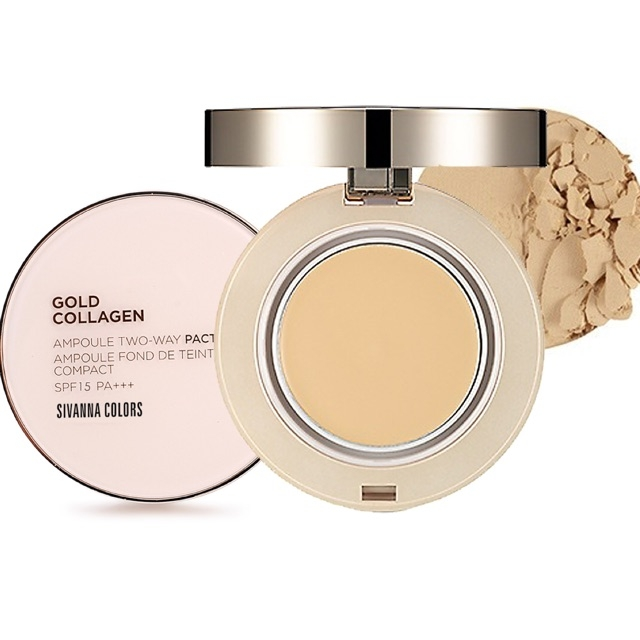 Phấn nén siêu mịn Sivanna Colors Gold Collagen Ampoule Two Way Pact SPF 15 PA++ HF675