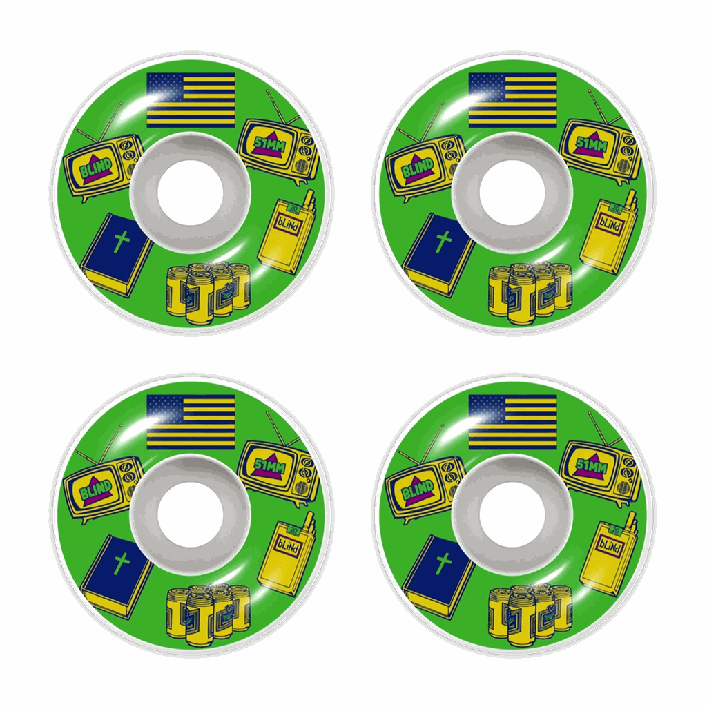BLIND AMERICAN ICONS 51MM WHITE/GRN WHEELS