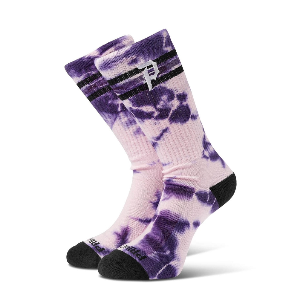 PRIMITIVE DIRTY P WASHED RINGER CREW SOCKS PURPLE