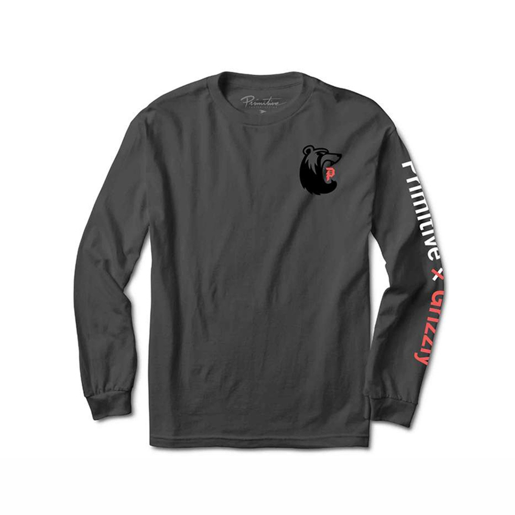 PRIMITIVE X GRIZZLY BEARHAUS LONGSLEEVES CHARCOAL