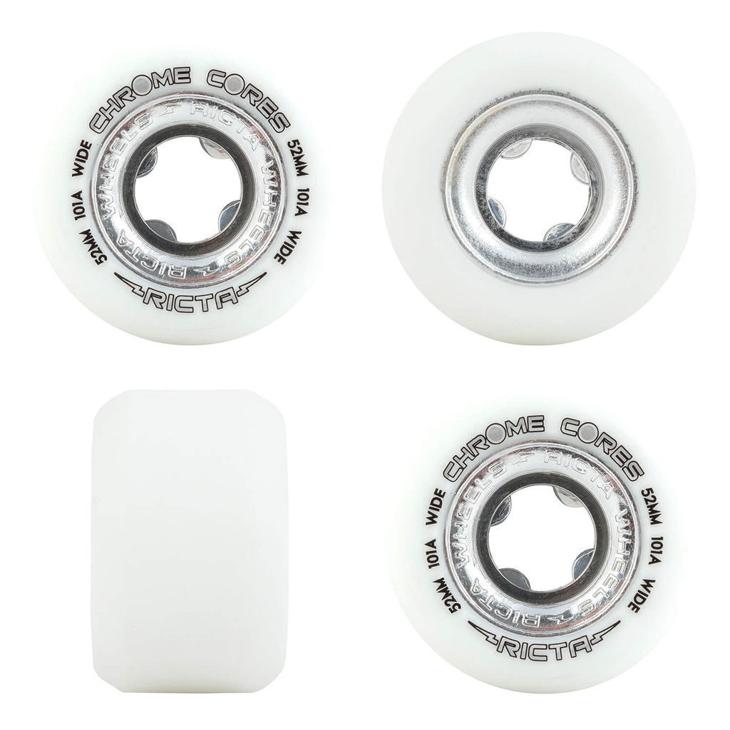 RICTA 52MM CHROME CORE SILVER WIDE 101A WHEELS