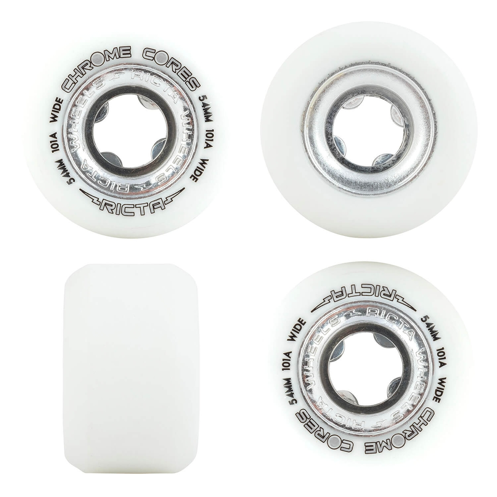 RICTA 54MM CHROME CORE SILVER WIDE 101A WHEELS