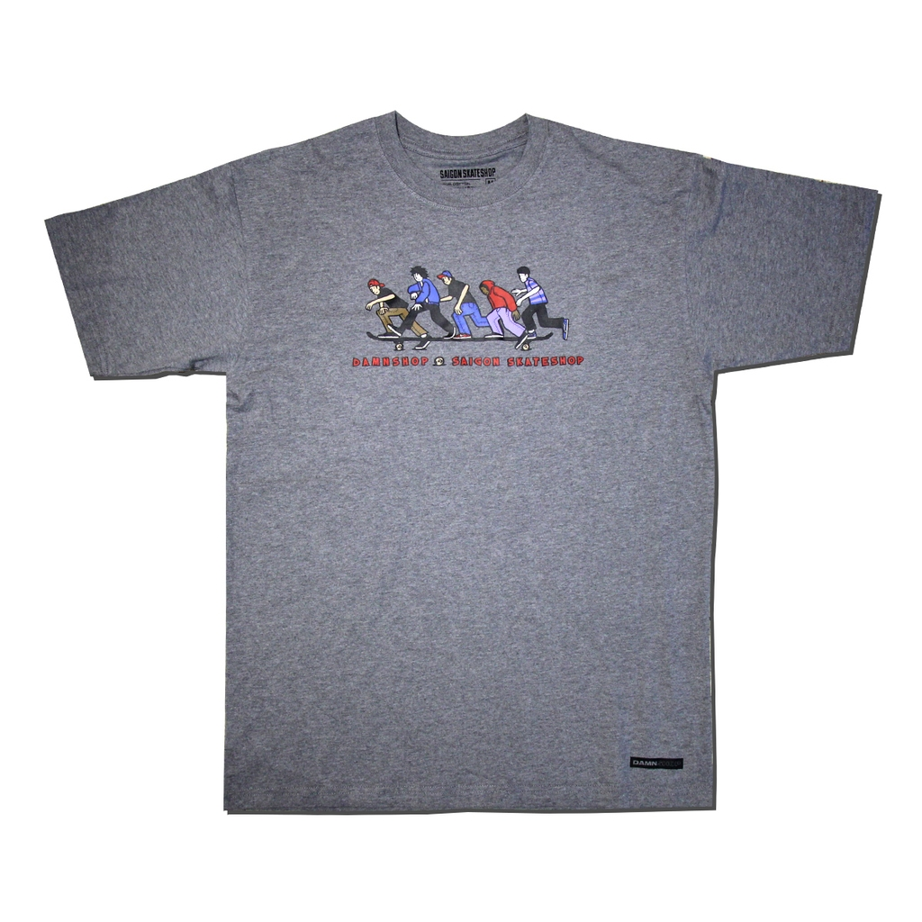 SAIGON SKATESHOP X DAMN SHOP TEE GREY
