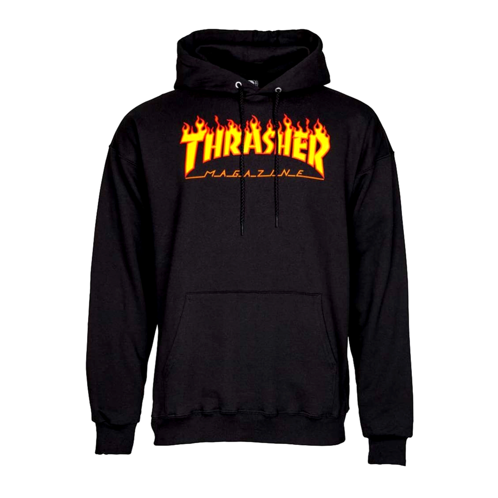 Thrasher Flame Logo Black Hoodie - Small