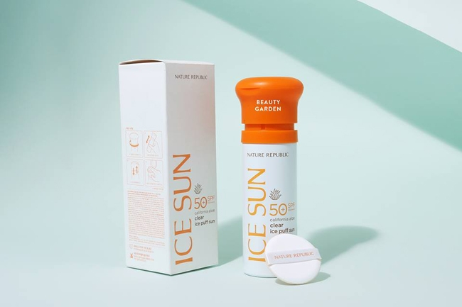 NATURE REPUBLIC - Kem chống nắng Ice Sun California Aloe Clear Ice Puff Sun SPF50+ PA++++
