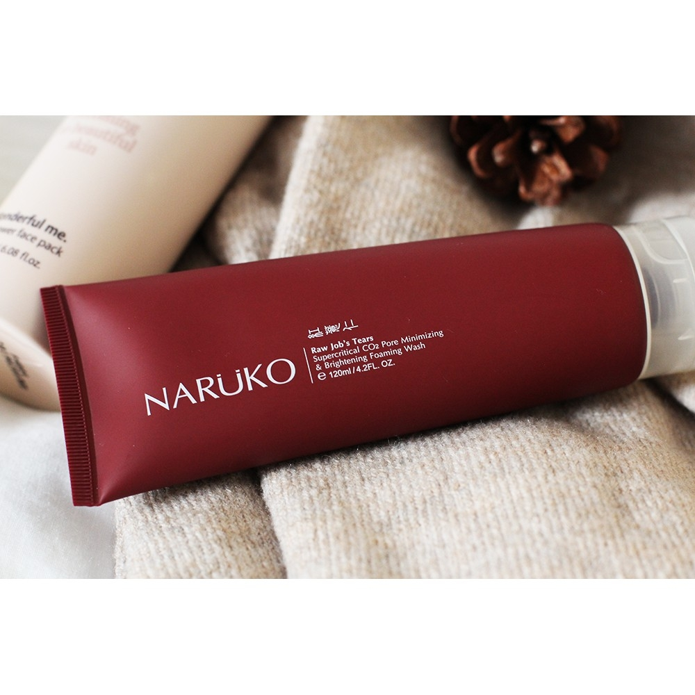 NARUKO - Sữa Rửa Mặt Sáng Da Raw Job's Tears Supercritical CO2 Pore Minimizing & Brightening Foaming Wash 120ml