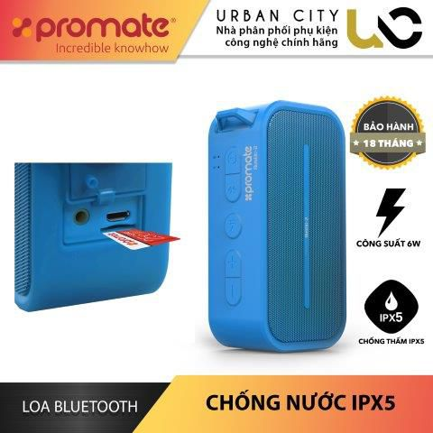 Loa Bluetooth Promate RUSTIC-2.BLUE Công Suất 6W Chống Thấm IPX5