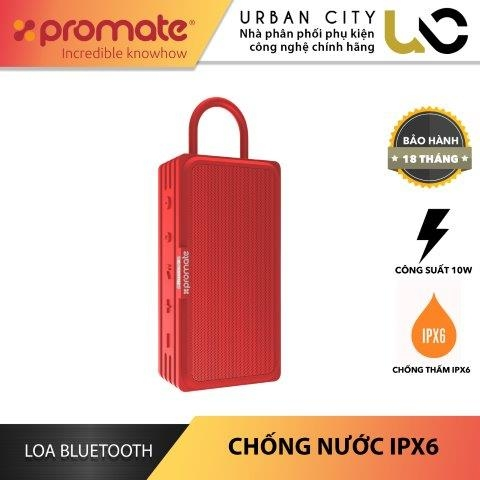 Loa Bluetooth Promate RUSTIC-3.RED Công Suất 10W Chống Thấm IPX6