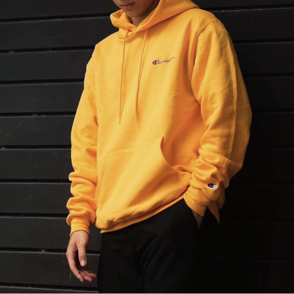 Champion Hoodie Embroidered Logo (Yellow)