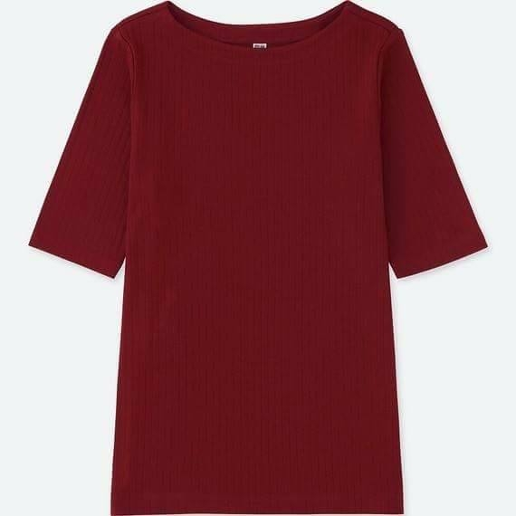 Uniqlo Chính Hãng - Áo Uniqlo RIBBED BOAT NECK HALF SLEEVE T-SHIRT - 17Red | JapanSport  198213