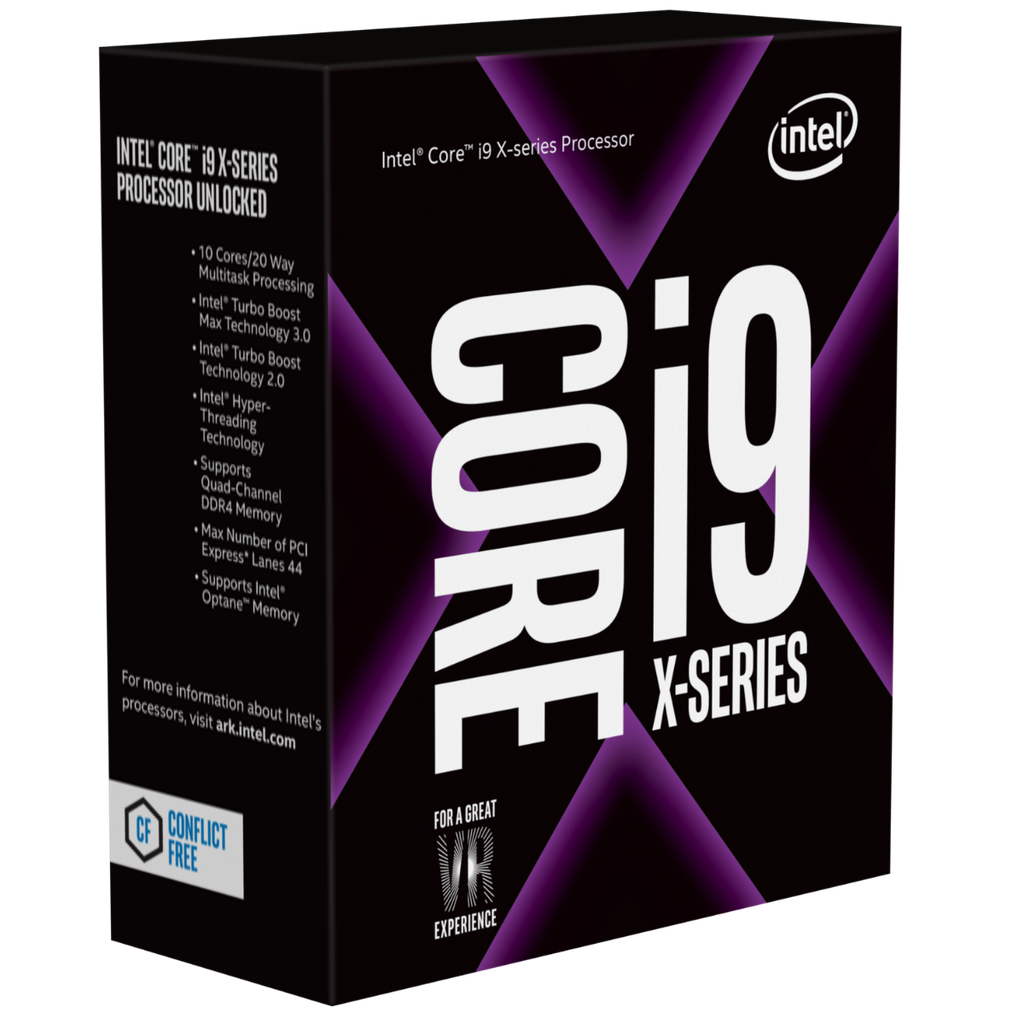 CPU Intel Core i9-9820X 3.3 GHz Turbo 4.1 GHz up to 4.2 GHz / 16.5 MB / 10 Cores, 20 Threads / socket 2066