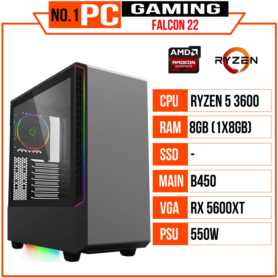PC GAMING FALCON 022 (R5 3600/B450/RAM 8GB/RX 5600/550W/TẢN ID COOLING/RGB)