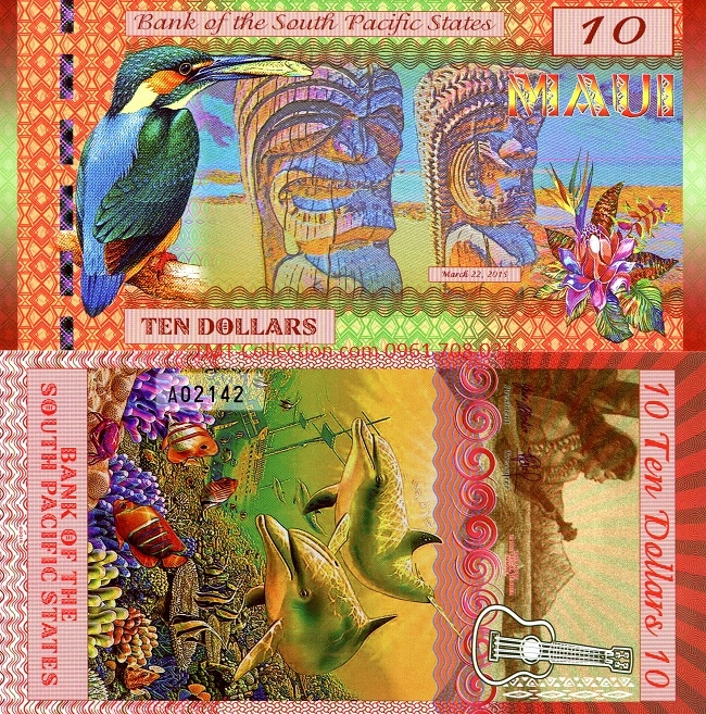 South Pacific 10 Dollars 2015 UNC polyme