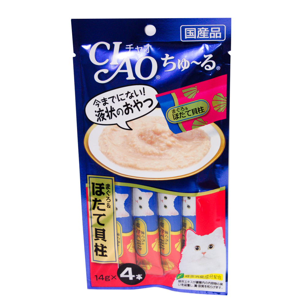 CIAO Shuru, Cat Flavor, Flavored Tuna, White Meat and Scallops