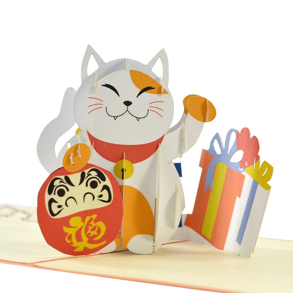 thiệp nổi chúc mừng mèo may mắn