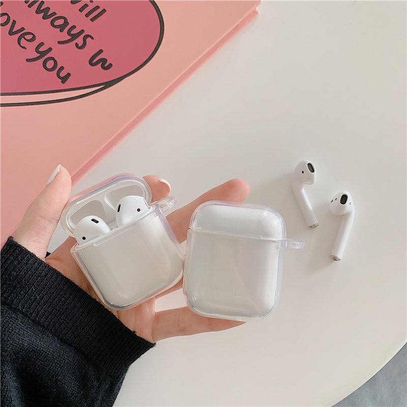 Case nhựa trong suốt cứng cho Airpods 1/2