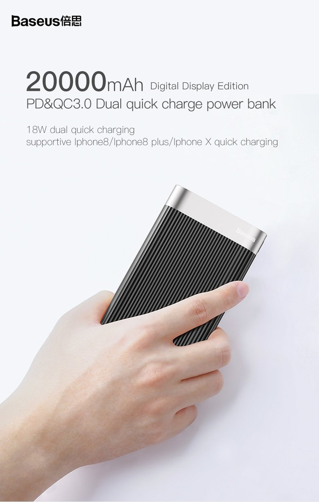Pin sạc dự phòng Baseus Parallel PD Power Bank 20,000mAh (QC 3.0, Power Delivery)
