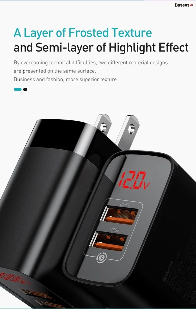 Củ sạc nhanh 2 USB PD3.0/QC 3.0 Baseus Mirror Lake PPS Digital Display Quick Charger 18W
