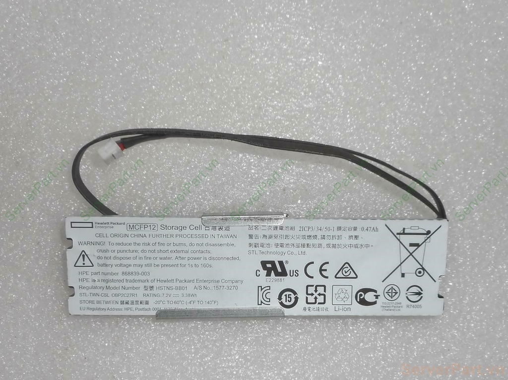 15647 Pin Battery HP HPE 12W Smart Storage Battery v2 with plug 609mm cable sp 878642-001 opt P01365-B21