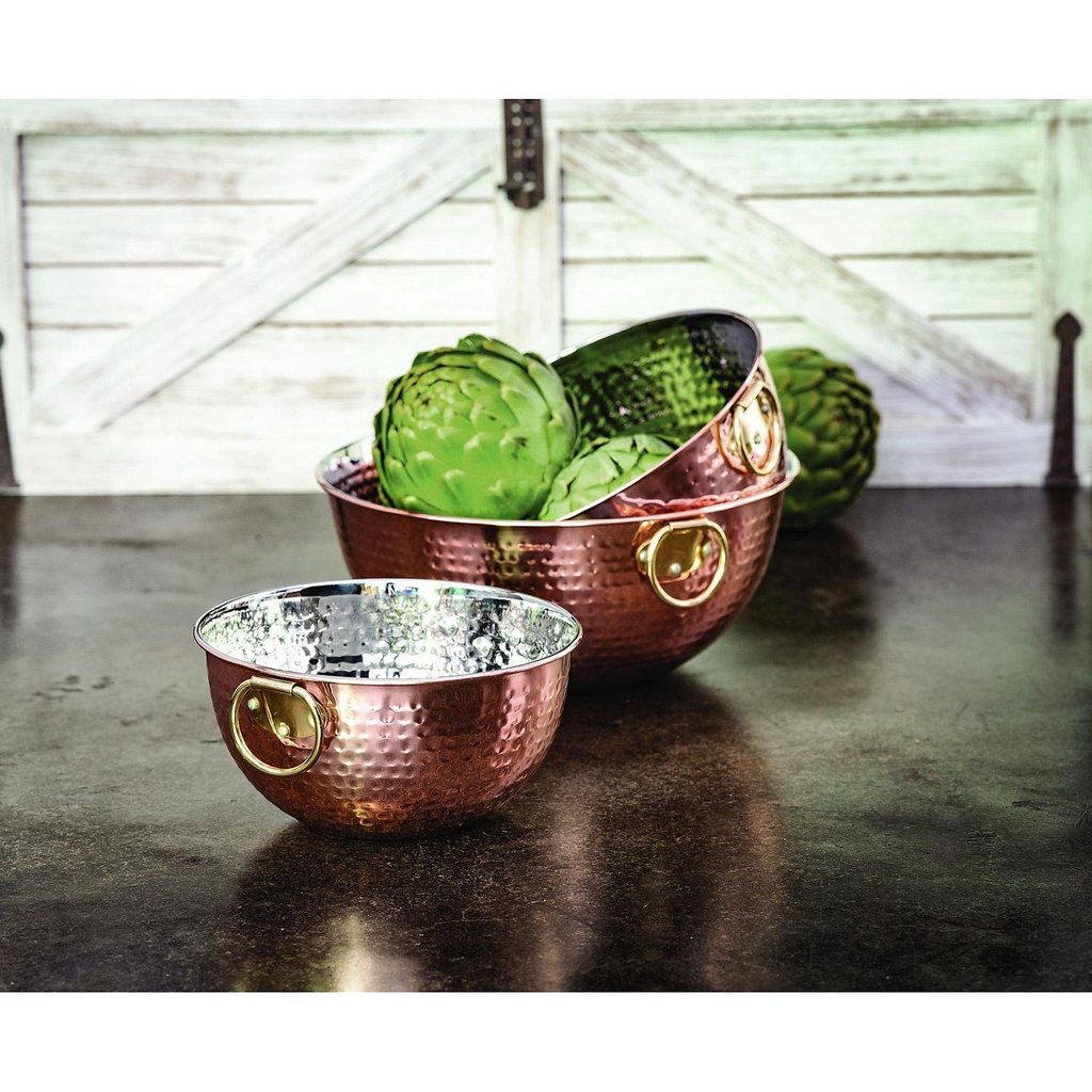 Member's Mark 3pc Hammered Mixing Bowl Set in Copper thép không gỉ