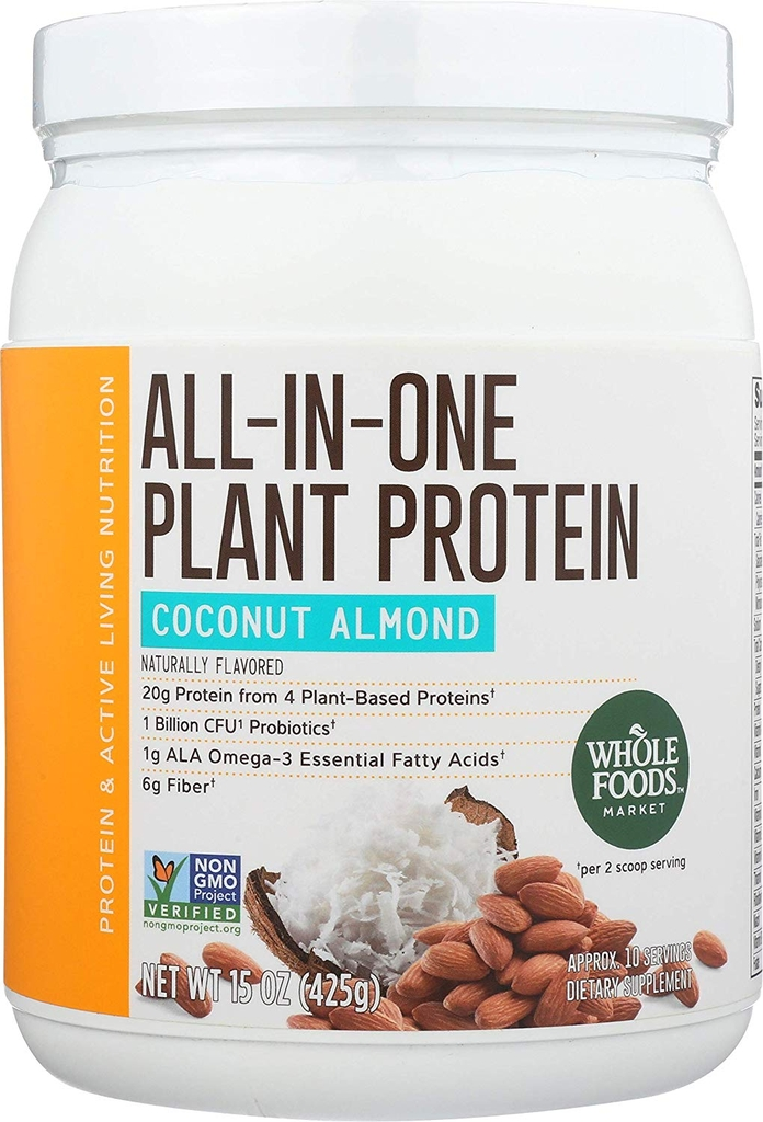 Whole Foods Market, All-In-One Plant Protein, Coconut Almond 15oz