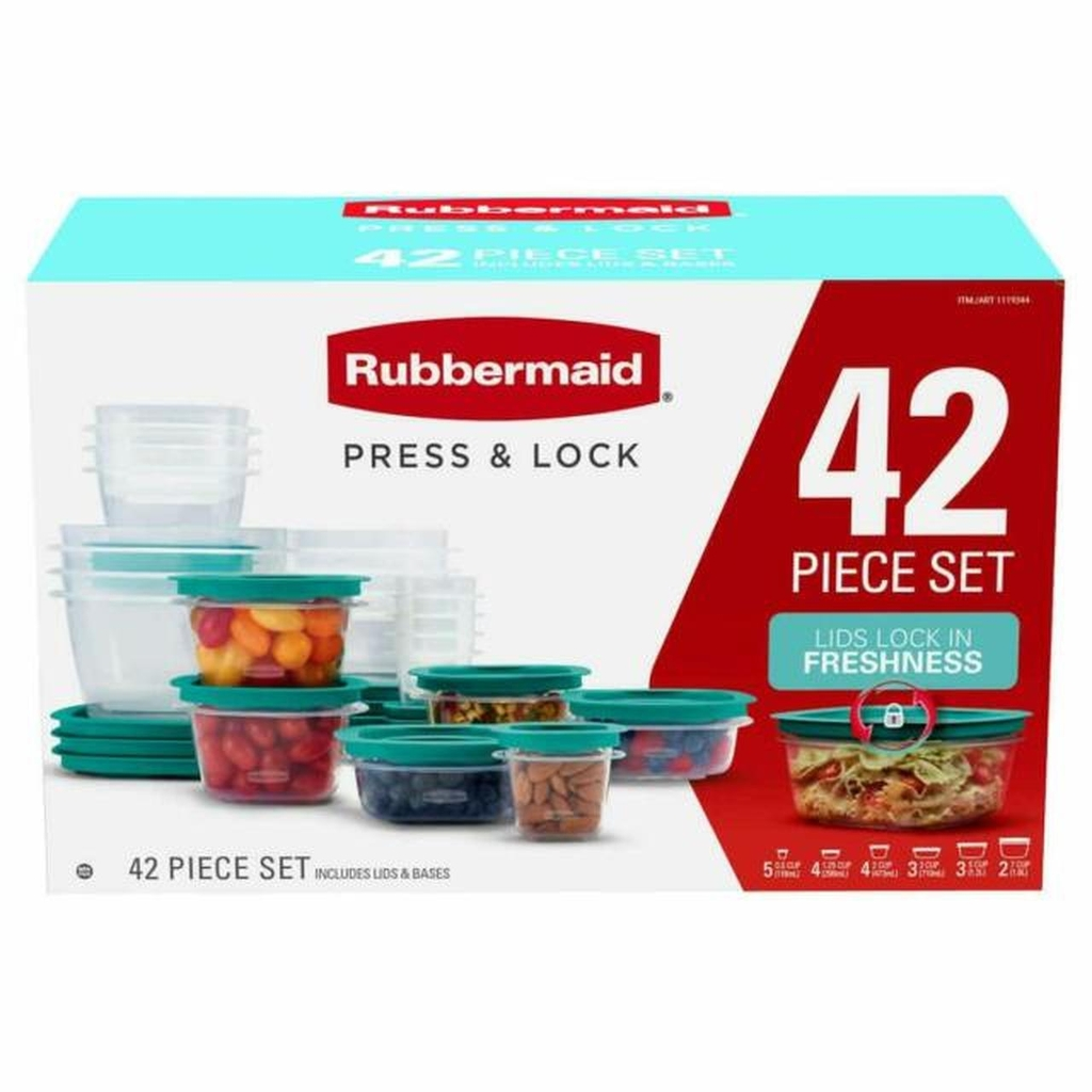 Rubbermaid Press & Lock leak proof lids 42 pieces