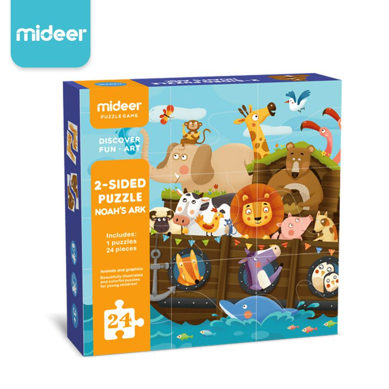 Mideer 2- Sided Puzzle Noah's Ark 24 Chi Tiết
