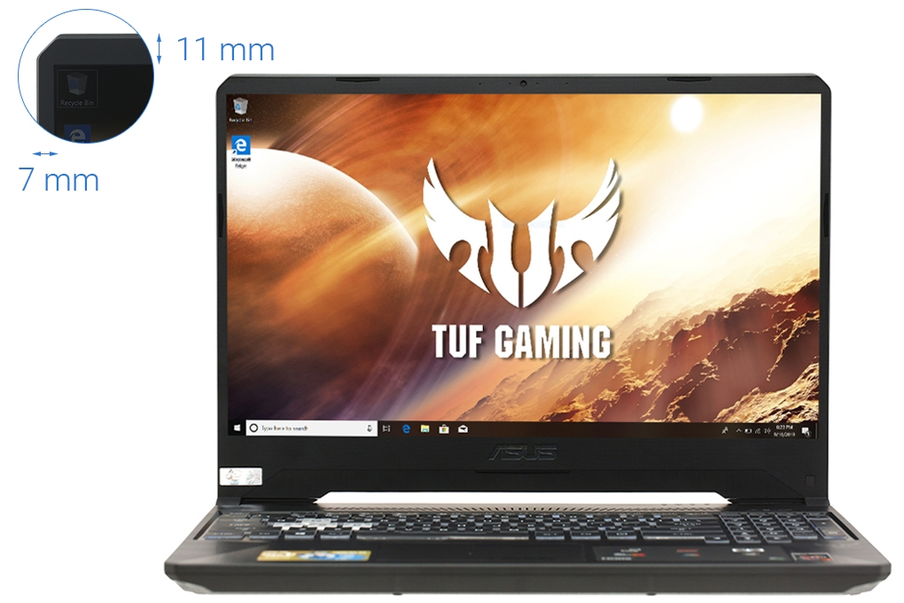 ( MỚI 99%) Laptop Gaming Asus TUF FX505GE BQ056T GTX1050Ti 4GB Intel Core i7 8750H 8GB 1TB SSD 128G 15.6″ FHD Win 10 Gold Steel RGB