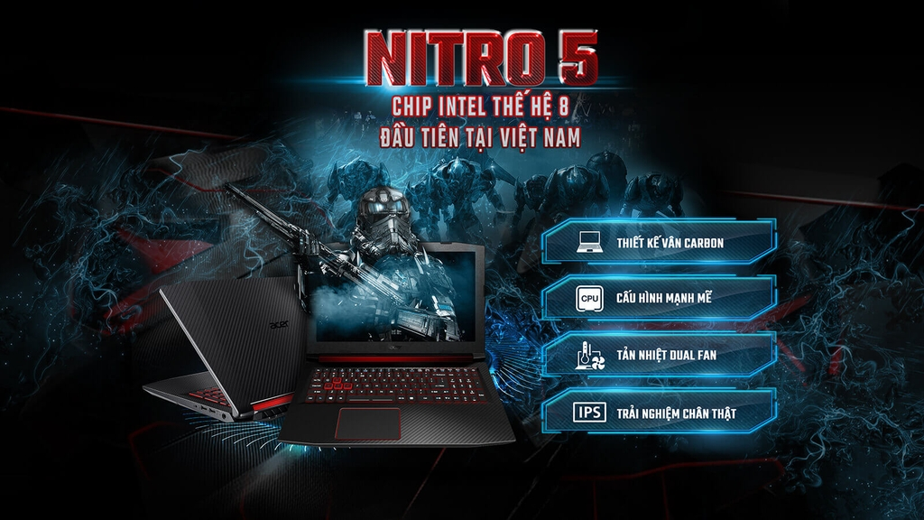 Laptop Acer Nitro 5 AN515-52-51LW GTX 1050TI 4GB Intel Core I5 8300H 8GB 128GB 1TB 15.6 FHD IPS