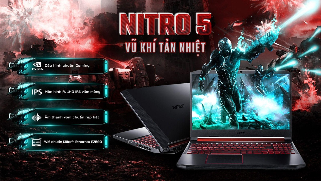 Laptop Gaming Acer Nitro AN515 54 CORE i5 9300H/8Gb/256Gb/GTX 1050 4Gb/Win 10