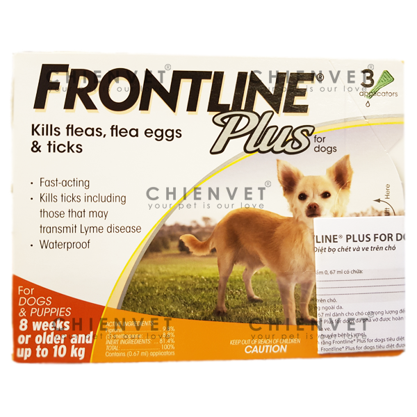 Frontline plus dog <10kg - Thuốc phòng và trị ve, bọ chét trên chó