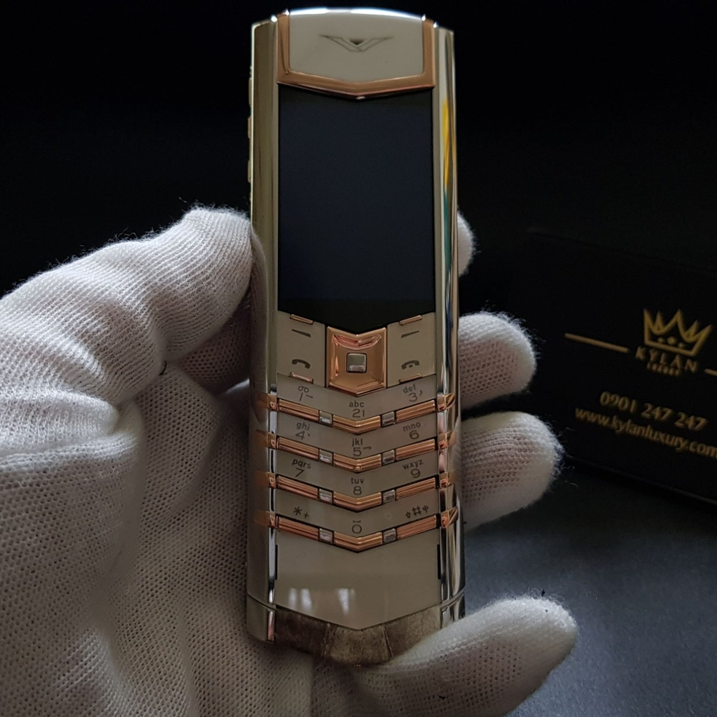 Vertu Signature S white mix gold da bạch tạng