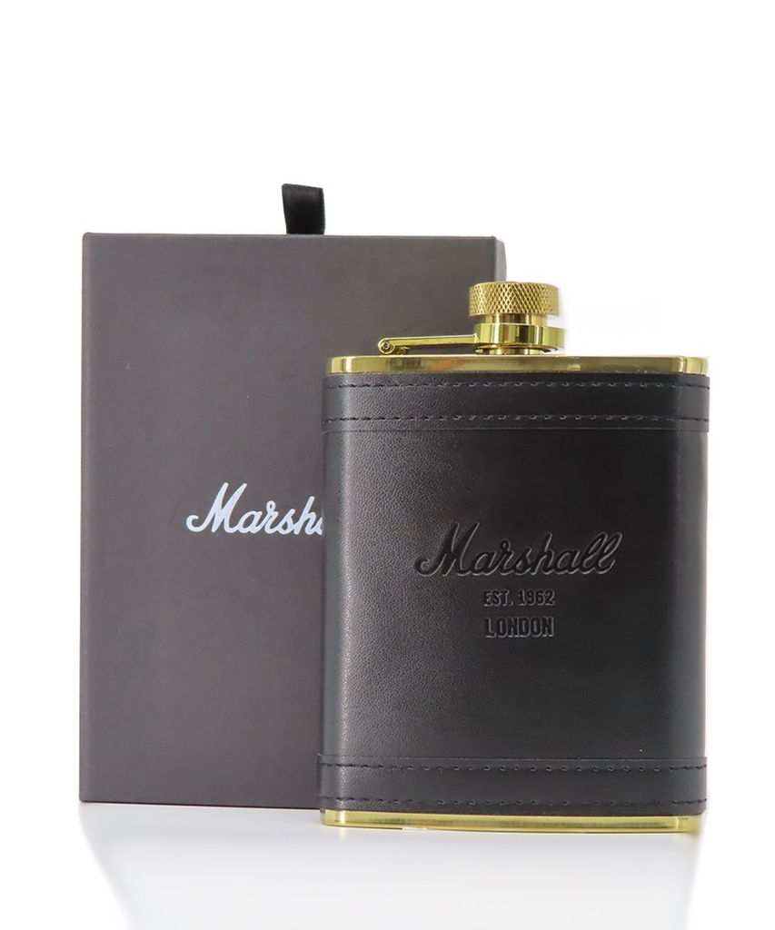 Marshall Leather Flask in Black/Gold